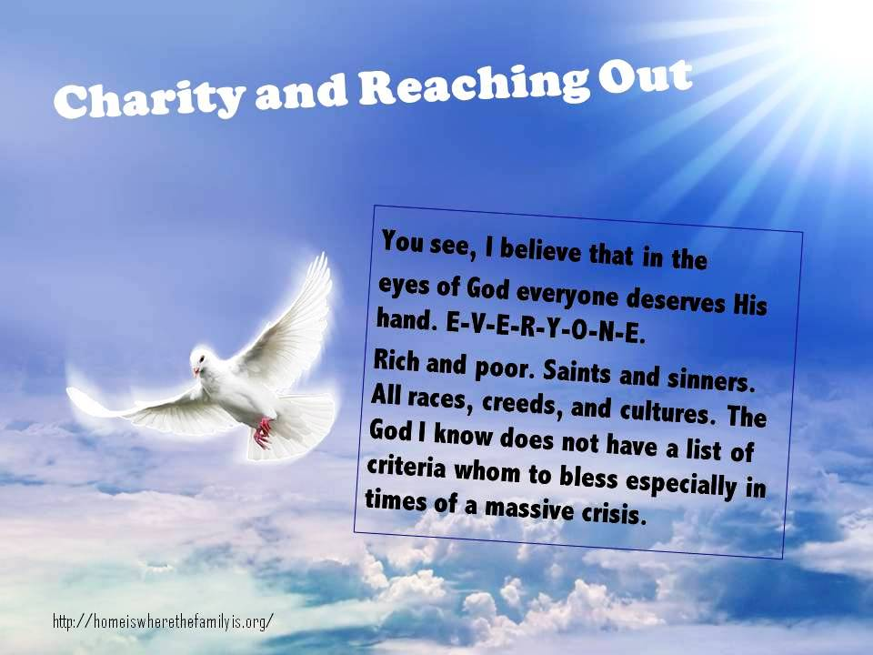 A Lenten Message about Charity and Reaching Out