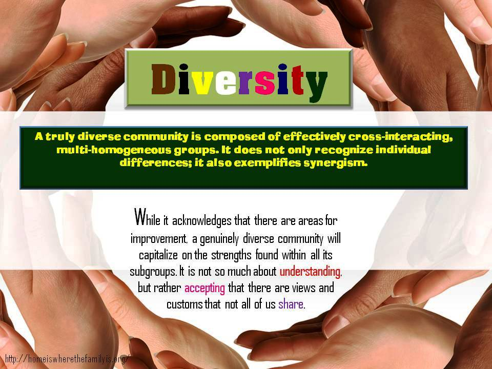 A truly diverse community is composed of effectively cross-interacting, multi-homogeneous groups. It does not only recognize individual differences; it also exemplifies synergism.