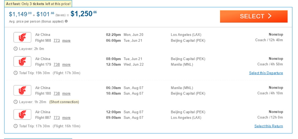 Air China Rates May 2